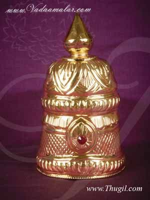 Kireedam for Hindu God Full Round Crown Gold Plated Crown Mukut Buy Now 5 Inches