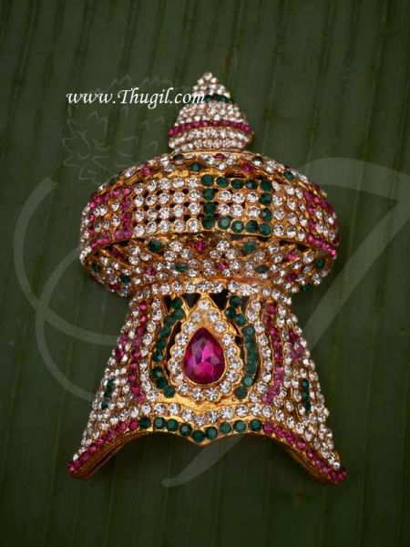 Half Crown Multi Colour Mukut For Hindu God Goddess Buy Now 4.5 inches