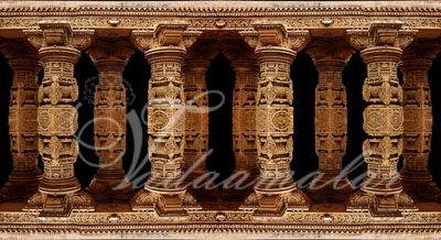 Stone Pillars Banner Print Photo Quality Indian wedding Stage temple decoration