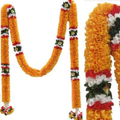 Doorway decorative yellow garland - washable Andal Malai Indian Garlands
