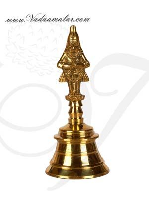 """Brass Puja Bell Bells with Lord Hanuman Buy Online India Mani 5.5"""""""