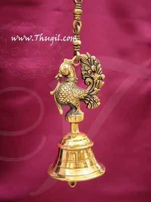 Hanging Peacock Bell Hamsa Mani Brass Buy now 27 inches