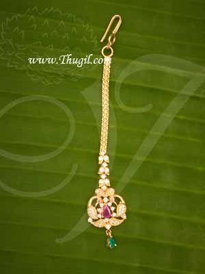 Maang Tikka Ruby Emerald Chutti AD stones Buy Now