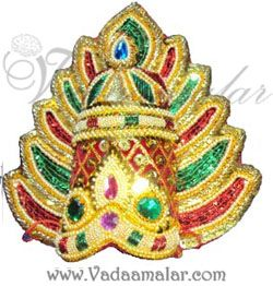 Devi Durga Saraswathi Hindu God Multi Color Crown And pearl Mukut Accessories