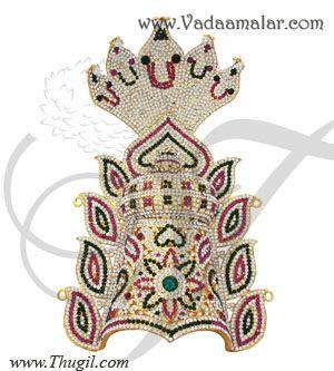 Devi Amman Idol Mukut Head Multi Colour Crown Indian Kreedam Accessories Goddess - LARGE
