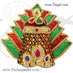"13.5"" ht Adult size Devi Durga Saraswathi Hindu God Multi Color Crown pearl Mukut"
