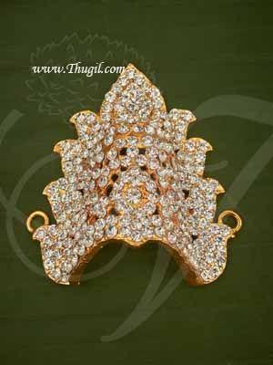"2.5"" Deity Amman Durga Devi Mukut White Half Crown Indian Kreedam Goddess Buy Now"