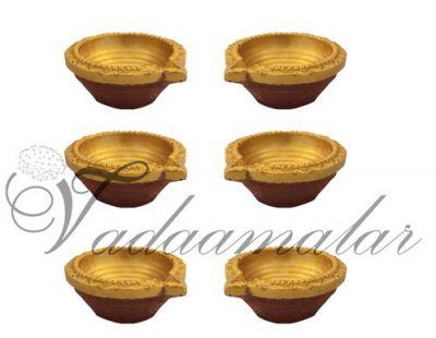 6 Gold Decorative Clay Diyas