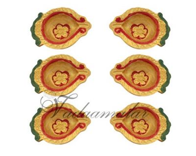 6 Clay Diyas with Gold design Decorated