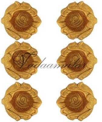 Floral 6 Gold Decorative Clay Diyas