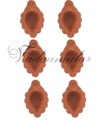 6 Plain Floral Baked Clay Diyas