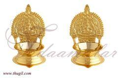 "5"" Kamakshi Vilakku Brass Diyas Lamps Gold Polished Buy"