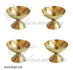 4 Nandadeep Swastika Jyoti Small Brass Diyas