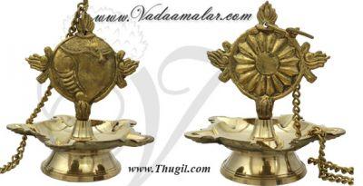 Sangu Chakara Hanging Brass Diya Oil Lamp