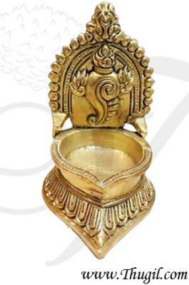 "4.5"" Buy Online Brass Shankh Vishnu Deepam Lamp Diya Vilakku"