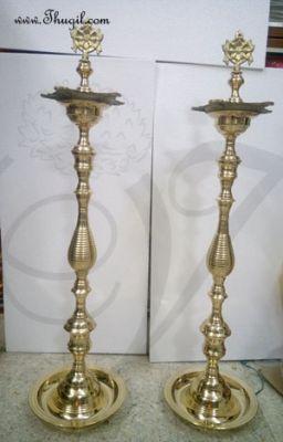 """3 feet / 36"""" Standing Brass Shanku Chakra Vilakku Deepam Diyas"""