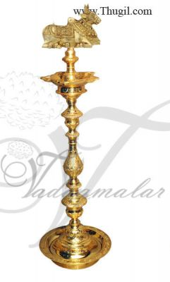 "36"" / 3 feet Nandi Bull Brass Diya Vilakku Deepam Diyas"