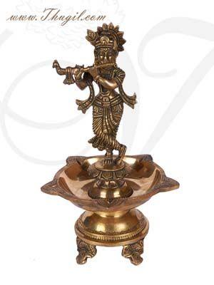 "11"" Buy Brass Statue Krishna Idol Oil Lamp Diya from India"