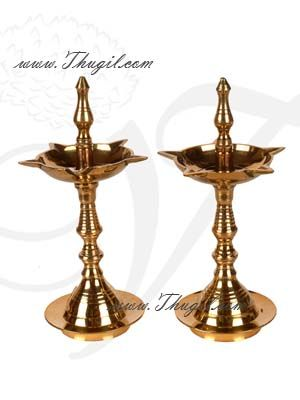 "5"" Kerala Design Nila Vilakku Diya NilaVilakku Brass Lamp 2 pieces"