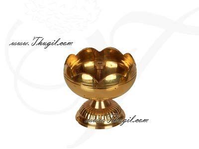 "2.5"" Swastika Jyoti Small  Brass Decorative Diyas in flower design Buy Online"