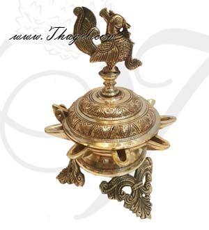 "Brass Peacock Oil Lamp Vilakku Buy Online 10"""