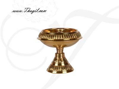 "1.8"" Swastika Jyoti Small  Brass Decorative Diyas in flower design Buy Online"