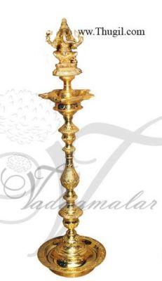 """36"""" / 3 Feet Ganesha Sitting Posture Brass Diya Vilakku Deepam Diyas"""