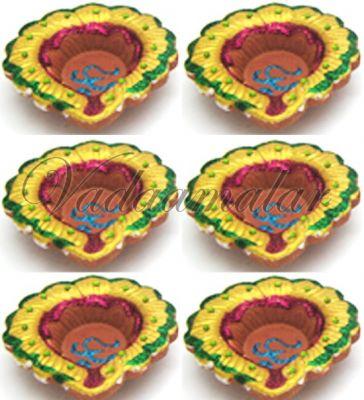 6 Multicolored Decorative Clay Diyas