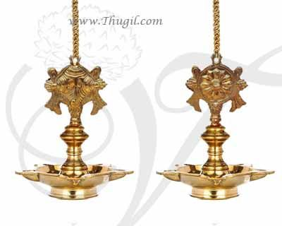 "Shanku chakra Diya Hanging Thongu Vilakku Brass Vinshu Deepam buy online 3"""