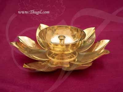 Brass Lotus Diyas in flower design Buy Online Diameter 5 inches