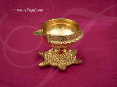 """2"""" Turtle Kuber Diya Lamp Brass Lamps from India Buy Online"""