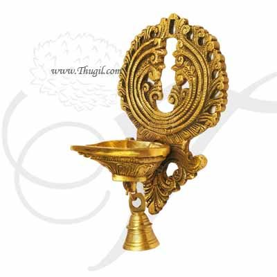 """Brass  Wall Hanging Lamp Diya With Bell Buy Now 8"""""""