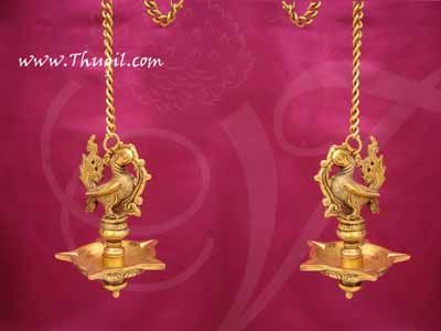 "Peacock Hanging Brass Diya Antique design Deepam Lamp Buy Now 6"""