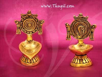 "Sangu Chakkaram Brass Diya Oil vilakku Vishnu Deepam Buy Now 4"""