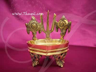 "Sangu Chakkaram Namam Brass Diya Oil vilakku Vishnu Deepam Buy Now 5.4"""