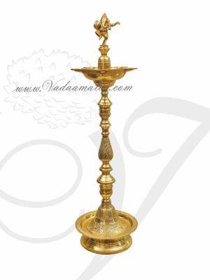Lamp Gold Plated Brass Diya Ganesha Vilakku Buy Now 3 Feet