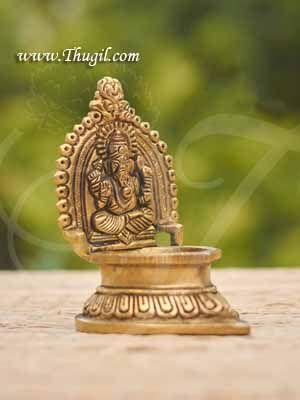 "Brass Deepam Lord Ganesha Vilakku Buy Now 4"""