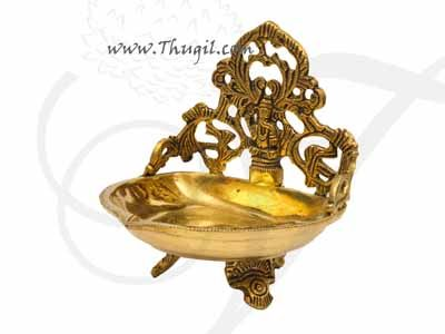 "Brass Lord Ganesha Stand Vilakku Deepam Buy Now 5.5"""