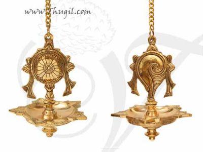 "Shanku Chakra Diya Hanging Thongu Vilakku Brass Vinshu Deepam Buy Now 10"""
