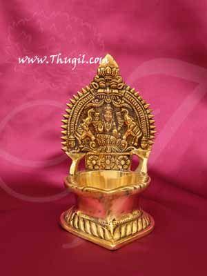 "Brass Deepam Lord Gajalakshmi Vilakku Lamp Buy Now 5.5"""