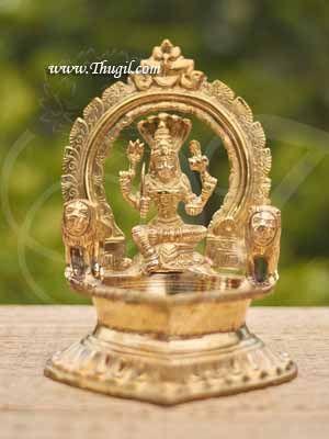 "9"" Buy Online Brass India Large Wick Lamp with Goddess Mariamman Vilakku - 1 piece"