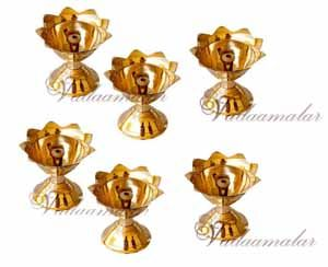 6 Indian Flower Design Deepam Diya in Brass