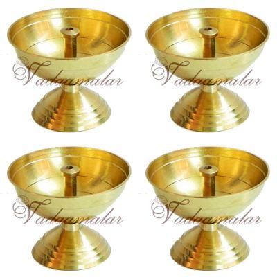 4 pieces Swastika Jyoti Small  Brass Diyas Diwali Deepam