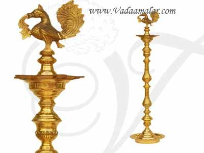 5 feet Brass Swan Standing Kumbakonam brass lamp Vilakku Annam