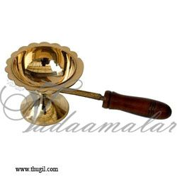 """11.5"""" long Large size Aarti Brass Dhoop Wooden Handle"""