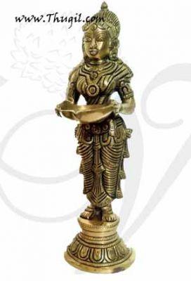 Paavai Vilakku Standing Lady with Lamp Brass Diya 9.5 inch
