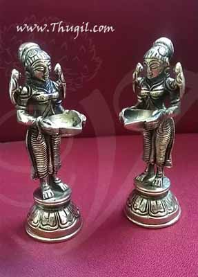 Traditional Paavai Vilakku Standing Lady with Lamp Brass - Small