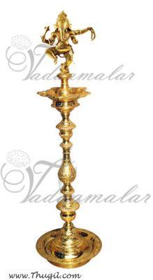 36 inch -3 feet Ganesha Standing Brass Diya India Indian Gift