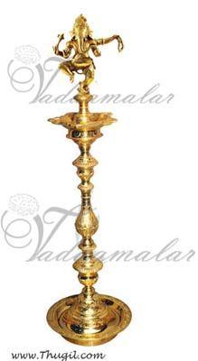"17"" / 48 cm Ganesha Standing Brass Diya India Indian Gift"