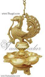 Peacock Hanging Brass Diya Oil Lamp